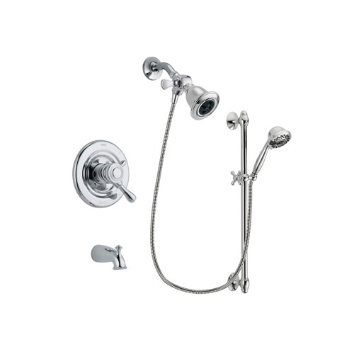 Delta Leland Chrome Finish Dual Control Tub and Shower Faucet System Package with Water Efficient Showerhead and 7-Spray Handheld Shower Sprayer with Slide Bar Includes Rough-in Valve and Tub Spout DSP0621V