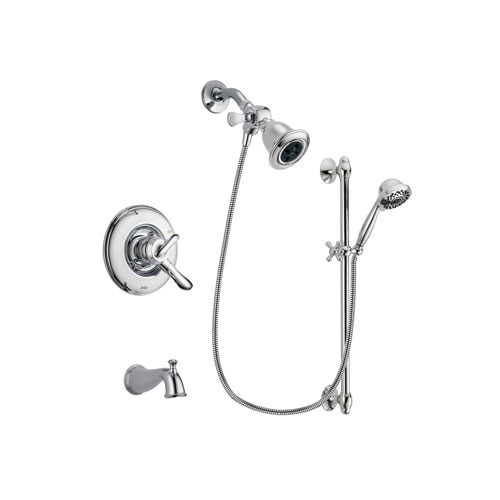 Delta Linden Chrome Finish Dual Control Tub and Shower Faucet System Package with Water Efficient Showerhead and 7-Spray Handheld Shower Sprayer with Slide Bar Includes Rough-in Valve and Tub Spout DSP0625V
