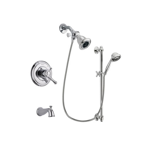 Delta Cassidy Chrome Finish Dual Control Tub and Shower Faucet System Package with Water Efficient Showerhead and 7-Spray Handheld Shower Sprayer with Slide Bar Includes Rough-in Valve and Tub Spout DSP0627V