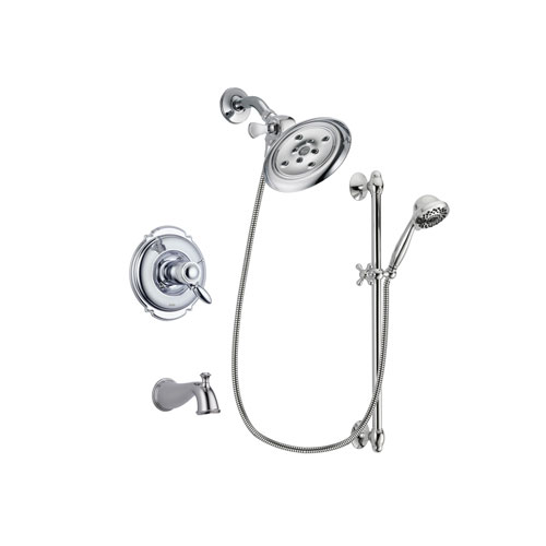 Delta Victorian Chrome Finish Thermostatic Tub and Shower Faucet System Package with Large Rain Showerhead and 7-Spray Handheld Shower Sprayer with Slide Bar Includes Rough-in Valve and Tub Spout DSP0631V