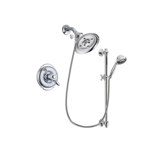 Delta Victorian Chrome Finish Thermostatic Shower Faucet System Package with Large Rain Showerhead and 7-Spray Handheld Shower Sprayer with Slide Bar Includes Rough-in Valve DSP0632V