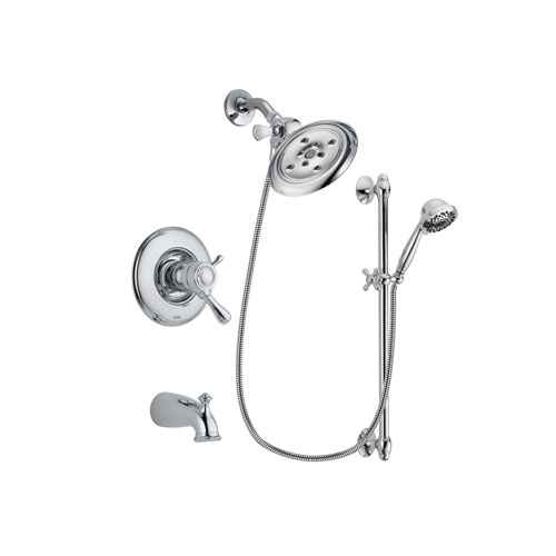 Delta Leland Chrome Finish Thermostatic Tub and Shower Faucet System Package with Large Rain Showerhead and 7-Spray Handheld Shower Sprayer with Slide Bar Includes Rough-in Valve and Tub Spout DSP0633V