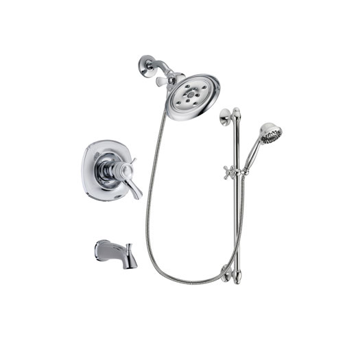 Delta Addison Chrome Finish Thermostatic Tub and Shower Faucet System Package with Large Rain Showerhead and 7-Spray Handheld Shower Sprayer with Slide Bar Includes Rough-in Valve and Tub Spout DSP0635V