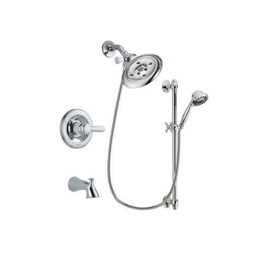 Delta Lahara Chrome Finish Tub and Shower Faucet System Package with Large Rain Showerhead and 7-Spray Handheld Shower Sprayer with Slide Bar Includes Rough-in Valve and Tub Spout DSP0639V