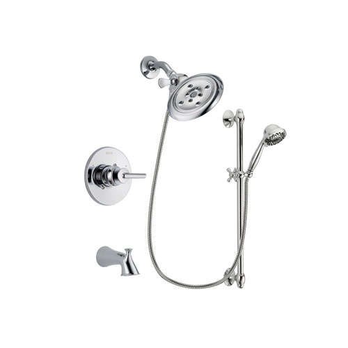 Delta Trinsic Chrome Finish Tub and Shower Faucet System Package with Large Rain Showerhead and 7-Spray Handheld Shower Sprayer with Slide Bar Includes Rough-in Valve and Tub Spout DSP0641V