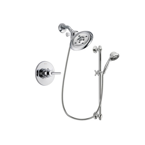 Delta Trinsic Chrome Finish Shower Faucet System Package with Large Rain Showerhead and 7-Spray Handheld Shower Sprayer with Slide Bar Includes Rough-in Valve DSP0642V