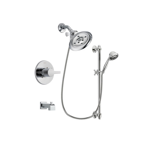 Delta Compel Chrome Finish Tub and Shower Faucet System Package with Large Rain Showerhead and 7-Spray Handheld Shower Sprayer with Slide Bar Includes Rough-in Valve and Tub Spout DSP0643V