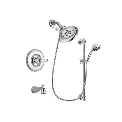 Delta Linden Chrome Finish Tub and Shower Faucet System Package with Large Rain Showerhead and 7-Spray Handheld Shower Sprayer with Slide Bar Includes Rough-in Valve and Tub Spout DSP0647V