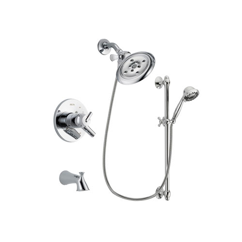 Delta Trinsic Chrome Finish Dual Control Tub and Shower Faucet System Package with Large Rain Showerhead and 7-Spray Handheld Shower Sprayer with Slide Bar Includes Rough-in Valve and Tub Spout DSP0651V