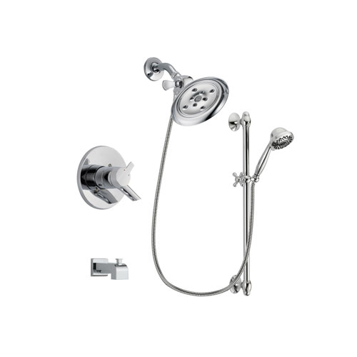 Delta Compel Chrome Finish Dual Control Tub and Shower Faucet System Package with Large Rain Showerhead and 7-Spray Handheld Shower Sprayer with Slide Bar Includes Rough-in Valve and Tub Spout DSP0653V