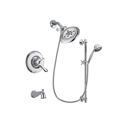 Delta Linden Chrome Finish Dual Control Tub and Shower Faucet System Package with Large Rain Showerhead and 7-Spray Handheld Shower Sprayer with Slide Bar Includes Rough-in Valve and Tub Spout DSP0659V