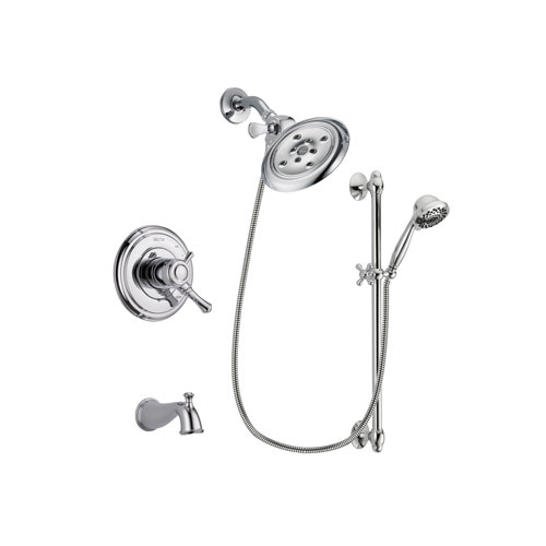 Delta Cassidy Chrome Finish Dual Control Tub and Shower Faucet System Package with Large Rain Showerhead and 7-Spray Handheld Shower Sprayer with Slide Bar Includes Rough-in Valve and Tub Spout DSP0661V
