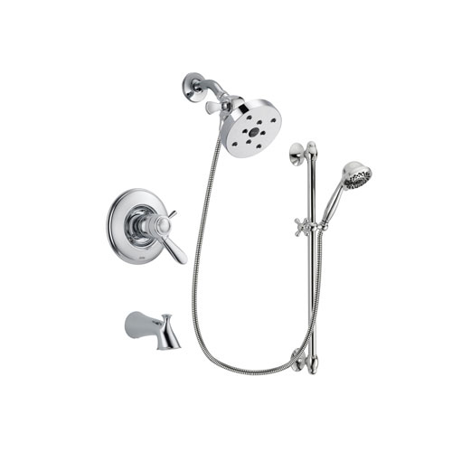 Delta Lahara Chrome Finish Thermostatic Tub and Shower Faucet System Package with 5-1/2 inch Shower Head and 7-Spray Handheld Shower Sprayer with Slide Bar Includes Rough-in Valve and Tub Spout DSP0663V