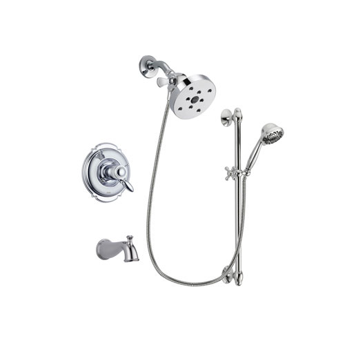 Delta Victorian Chrome Finish Thermostatic Tub and Shower Faucet System Package with 5-1/2 inch Shower Head and 7-Spray Handheld Shower Sprayer with Slide Bar Includes Rough-in Valve and Tub Spout DSP0665V