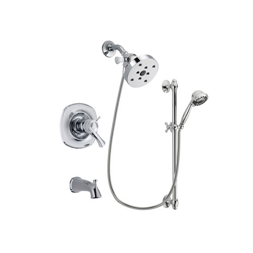 Delta Addison Chrome Finish Thermostatic Tub and Shower Faucet System Package with 5-1/2 inch Shower Head and 7-Spray Handheld Shower Sprayer with Slide Bar Includes Rough-in Valve and Tub Spout DSP0669V