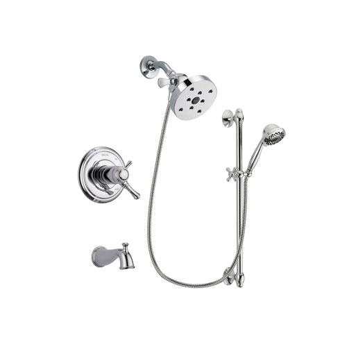Delta Cassidy Chrome Finish Thermostatic Tub and Shower Faucet System Package with 5-1/2 inch Shower Head and 7-Spray Handheld Shower Sprayer with Slide Bar Includes Rough-in Valve and Tub Spout DSP0671V