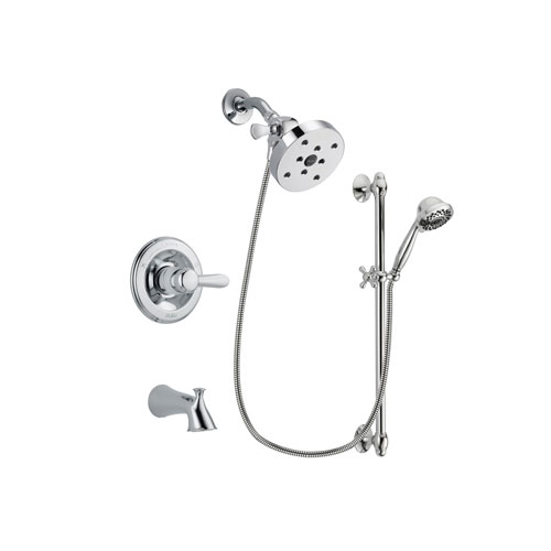 Delta Lahara Chrome Finish Tub and Shower Faucet System Package with 5-1/2 inch Shower Head and 7-Spray Handheld Shower Sprayer with Slide Bar Includes Rough-in Valve and Tub Spout DSP0673V