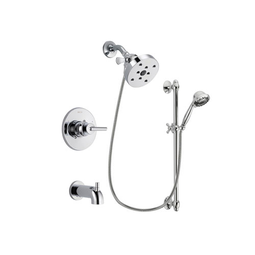 Delta Trinsic Chrome Finish Tub and Shower Faucet System Package with 5-1/2 inch Shower Head and 7-Spray Handheld Shower Sprayer with Slide Bar Includes Rough-in Valve and Tub Spout DSP0675V