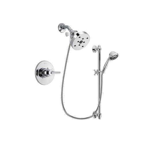 Delta Trinsic Chrome Finish Shower Faucet System Package with 5-1/2 inch Shower Head and 7-Spray Handheld Shower Sprayer with Slide Bar Includes Rough-in Valve DSP0676V