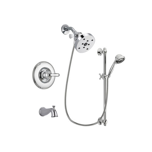 Delta Linden Chrome Finish Tub and Shower Faucet System Package with 5-1/2 inch Shower Head and 7-Spray Handheld Shower Sprayer with Slide Bar Includes Rough-in Valve and Tub Spout DSP0681V