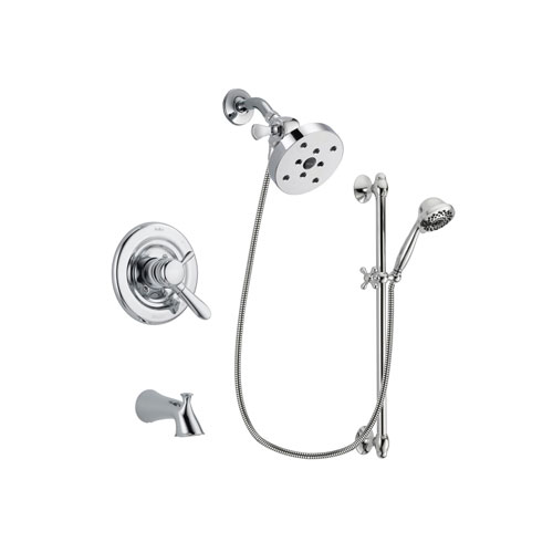 Delta Lahara Chrome Finish Dual Control Tub and Shower Faucet System Package with 5-1/2 inch Shower Head and 7-Spray Handheld Shower Sprayer with Slide Bar Includes Rough-in Valve and Tub Spout DSP0683V