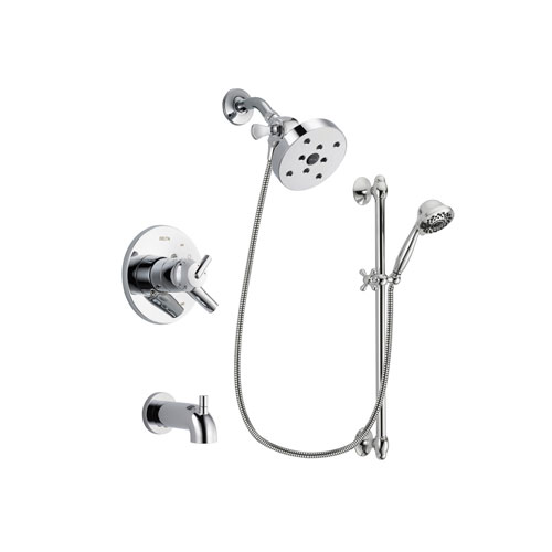 Delta Trinsic Chrome Finish Dual Control Tub and Shower Faucet System Package with 5-1/2 inch Shower Head and 7-Spray Handheld Shower Sprayer with Slide Bar Includes Rough-in Valve and Tub Spout DSP0685V