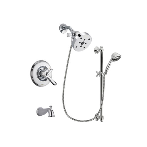 Delta Linden Chrome Finish Dual Control Tub and Shower Faucet System Package with 5-1/2 inch Shower Head and 7-Spray Handheld Shower Sprayer with Slide Bar Includes Rough-in Valve and Tub Spout DSP0693V