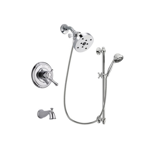 Delta Cassidy Chrome Finish Dual Control Tub and Shower Faucet System Package with 5-1/2 inch Shower Head and 7-Spray Handheld Shower Sprayer with Slide Bar Includes Rough-in Valve and Tub Spout DSP0695V