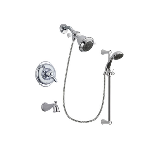 Delta Victorian Chrome Finish Thermostatic Tub and Shower Faucet System Package with Shower Head and 5-Spray Wall Mount Slide Bar with Personal Handheld Shower Includes Rough-in Valve and Tub Spout DSP0699V