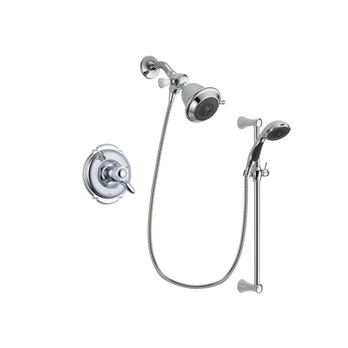 Delta Victorian Chrome Finish Thermostatic Shower Faucet System Package with Shower Head and 5-Spray Wall Mount Slide Bar with Personal Handheld Shower Includes Rough-in Valve DSP0700V