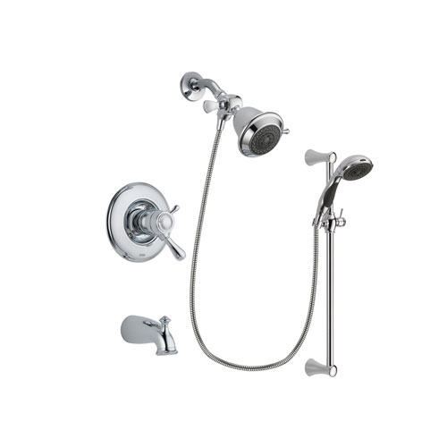 Delta Leland Chrome Finish Thermostatic Tub and Shower Faucet System Package with Shower Head and 5-Spray Wall Mount Slide Bar with Personal Handheld Shower Includes Rough-in Valve and Tub Spout DSP0701V