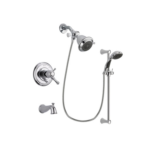 Delta Cassidy Chrome Finish Thermostatic Tub and Shower Faucet System Package with Shower Head and 5-Spray Wall Mount Slide Bar with Personal Handheld Shower Includes Rough-in Valve and Tub Spout DSP0705V