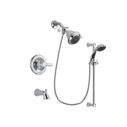 Delta Lahara Chrome Finish Tub and Shower Faucet System Package with Shower Head and 5-Spray Wall Mount Slide Bar with Personal Handheld Shower Includes Rough-in Valve and Tub Spout DSP0707V