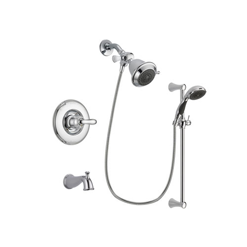 Delta Linden Chrome Finish Tub and Shower Faucet System Package with Shower Head and 5-Spray Wall Mount Slide Bar with Personal Handheld Shower Includes Rough-in Valve and Tub Spout DSP0715V