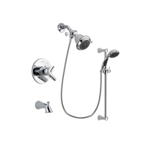 Delta Trinsic Chrome Finish Dual Control Tub and Shower Faucet System Package with Shower Head and 5-Spray Wall Mount Slide Bar with Personal Handheld Shower Includes Rough-in Valve and Tub Spout DSP0719V