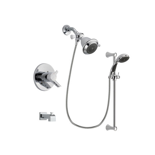 Delta Compel Chrome Finish Dual Control Tub and Shower Faucet System Package with Shower Head and 5-Spray Wall Mount Slide Bar with Personal Handheld Shower Includes Rough-in Valve and Tub Spout DSP0721V