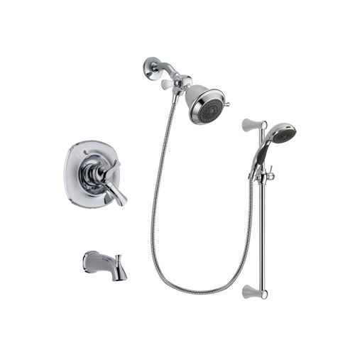 Delta Addison Chrome Finish Dual Control Tub and Shower Faucet System Package with Shower Head and 5-Spray Wall Mount Slide Bar with Personal Handheld Shower Includes Rough-in Valve and Tub Spout DSP0725V