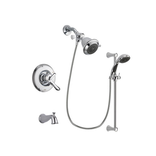 Delta Linden Chrome Finish Dual Control Tub and Shower Faucet System Package with Shower Head and 5-Spray Wall Mount Slide Bar with Personal Handheld Shower Includes Rough-in Valve and Tub Spout DSP0727V