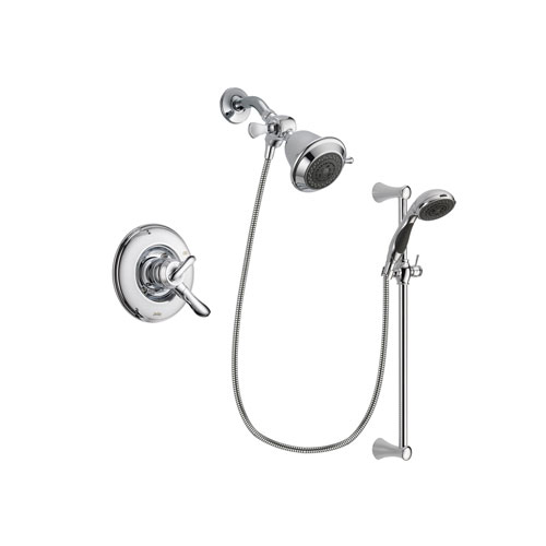 Delta Linden Chrome Finish Dual Control Shower Faucet System Package with Shower Head and 5-Spray Wall Mount Slide Bar with Personal Handheld Shower Includes Rough-in Valve DSP0728V