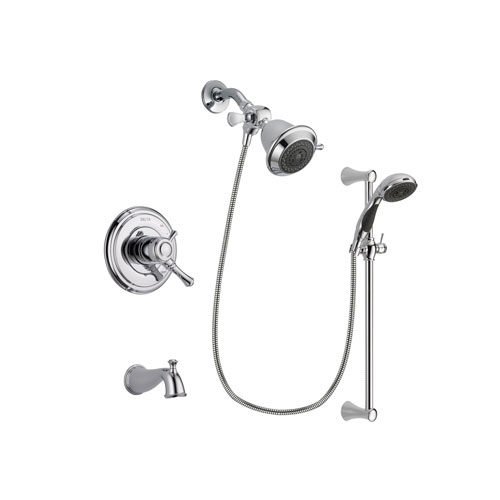 Delta Cassidy Chrome Finish Dual Control Tub and Shower Faucet System Package with Shower Head and 5-Spray Wall Mount Slide Bar with Personal Handheld Shower Includes Rough-in Valve and Tub Spout DSP0729V