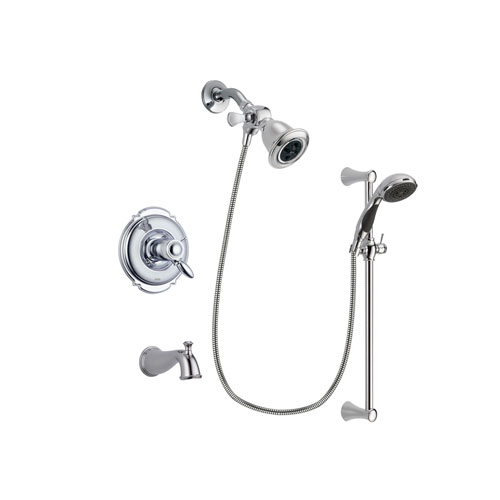Delta Victorian Chrome Finish Thermostatic Tub and Shower Faucet System Package with Water Efficient Showerhead and 5-Spray Wall Mount Slide Bar with Personal Handheld Shower Includes Rough-in Valve and Tub Spout DSP0733V