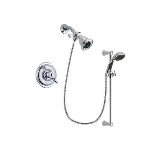 Delta Victorian Chrome Finish Thermostatic Shower Faucet System Package with Water Efficient Showerhead and 5-Spray Wall Mount Slide Bar with Personal Handheld Shower Includes Rough-in Valve DSP0734V