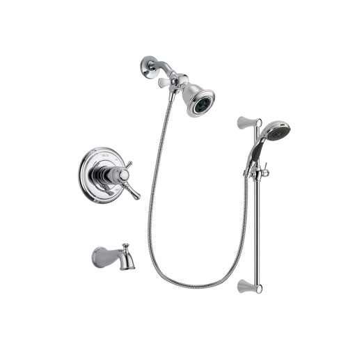 Delta Cassidy Chrome Finish Thermostatic Tub and Shower Faucet System Package with Water Efficient Showerhead and 5-Spray Wall Mount Slide Bar with Personal Handheld Shower Includes Rough-in Valve and Tub Spout DSP0739V