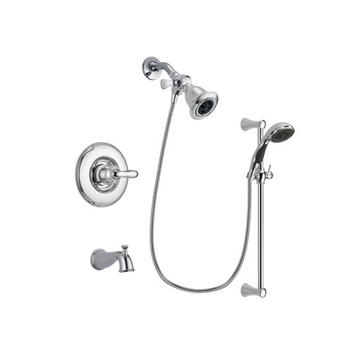 Delta Linden Chrome Finish Tub and Shower Faucet System Package with Water Efficient Showerhead and 5-Spray Wall Mount Slide Bar with Personal Handheld Shower Includes Rough-in Valve and Tub Spout DSP0749V