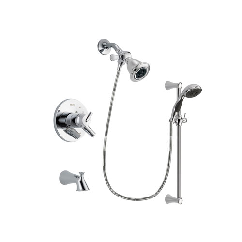 Delta Trinsic Chrome Finish Dual Control Tub and Shower Faucet System Package with Water Efficient Showerhead and 5-Spray Wall Mount Slide Bar with Personal Handheld Shower Includes Rough-in Valve and Tub Spout DSP0753V