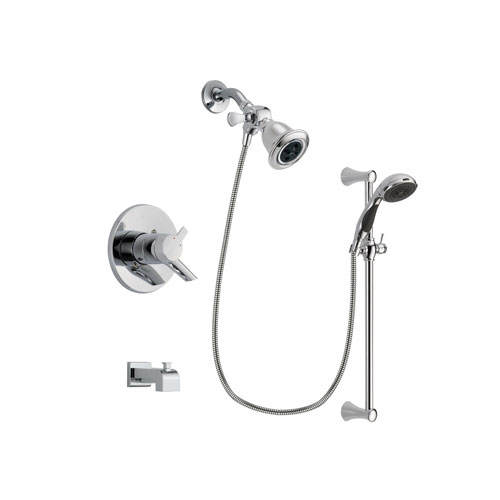 Delta Compel Chrome Finish Dual Control Tub and Shower Faucet System Package with Water Efficient Showerhead and 5-Spray Wall Mount Slide Bar with Personal Handheld Shower Includes Rough-in Valve and Tub Spout DSP0755V