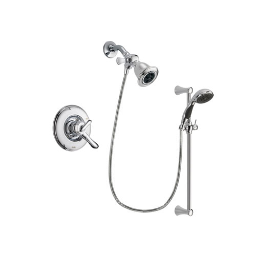 Delta Linden Chrome Finish Dual Control Shower Faucet System Package with Water Efficient Showerhead and 5-Spray Wall Mount Slide Bar with Personal Handheld Shower Includes Rough-in Valve DSP0762V