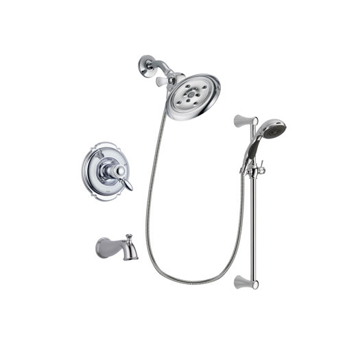 Delta Victorian Chrome Finish Thermostatic Tub and Shower Faucet System Package with Large Rain Showerhead and 5-Spray Wall Mount Slide Bar with Personal Handheld Shower Includes Rough-in Valve and Tub Spout DSP0767V