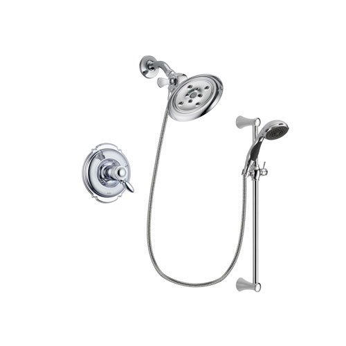 Delta Victorian Chrome Finish Thermostatic Shower Faucet System Package with Large Rain Showerhead and 5-Spray Wall Mount Slide Bar with Personal Handheld Shower Includes Rough-in Valve DSP0768V