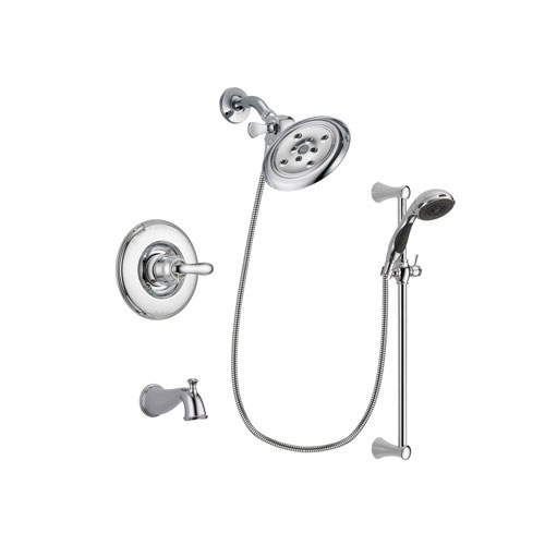Delta Linden Chrome Finish Tub and Shower Faucet System Package with Large Rain Showerhead and 5-Spray Wall Mount Slide Bar with Personal Handheld Shower Includes Rough-in Valve and Tub Spout DSP0783V